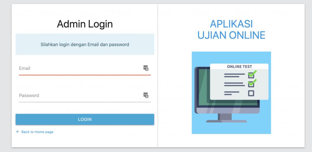 halaman login admin