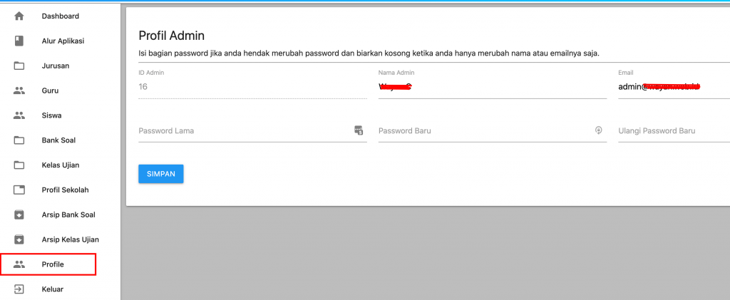 ubah password admin