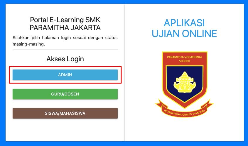 menu login admin aplikasi elearning dan ujian online gratis